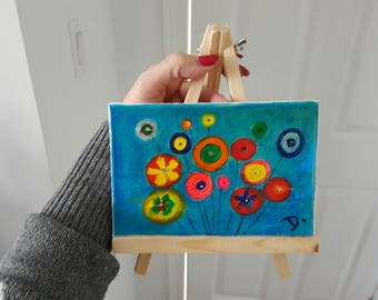 Mini Painting on Canvas & a Wooden easel.