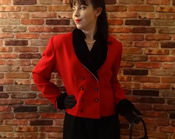 An Evening to Remember ~ Ladies Vintage Danny & Nicole Red Jacket // Size 12 Long Sleeve Coat