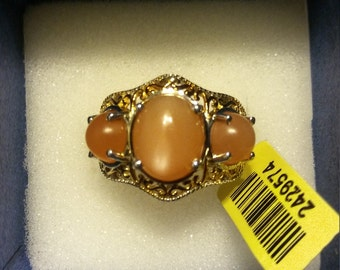 Sri Lanban Peach Moonstone Ring