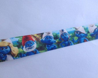 """7/8""""  Blue Smurf Characters inspired Grosgrain Ribbon  -  By The Yard"""