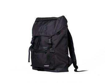 Waxed Canvas Backpack,Black Backpack,Canvas Rucksack,Vegan Backpack,Backpack Travel,Men's Backpack,Waterproof Backpack,Vintage Backpack