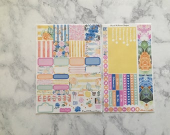 Mini Happy Planner Weekly Sticker Kit - Summer Floral - spring, summer, Floral
