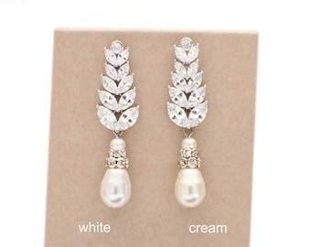 Pearl wedding earrings, pearl drop earrings, bridal earrings, Swarovski pearl, wedding jewelry, bridesmaid earrings, bridesmaid gift