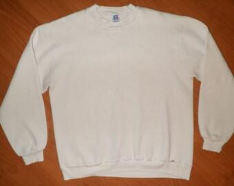 Vintage Russell Athletics Sweatshirt Blank White Soft 50/50 Blend Size L
