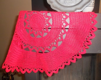 Doily crocheted by hand, cotton thread red 42cm in diameter