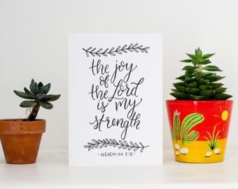 Bible Verse Greetings Card // The Joy of the Lord is My Strength // Handlettering // Typographic Card // Blank Greetings Card
