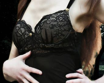 Gothic  sexy Lingerie  Bustier Corset Black Lace up