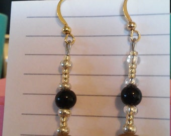 Black and Brown Dangle Drop Earrings