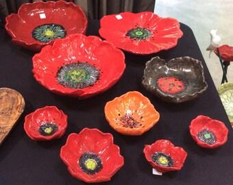 Handmade poppy bowls