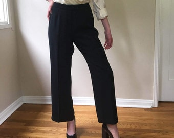 Vintage Black Striped Ankle Length Trousers Size M