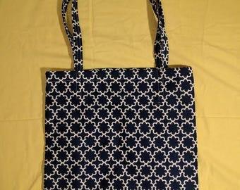 Dark Blue Floral Tote Bag