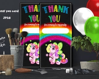 Thank you card My Little Pony Party, My Little Pony Birthday, My Little Pony, Personalized, Printable
