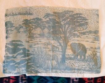 Vintage Pillowcase Safari Scene Faded Beautiful