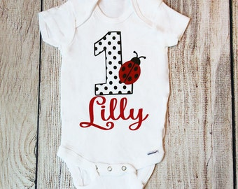 Personalized Ladybug First Birthday Outfit, Baby Girl Outfit, Ladybug Outfit, Ladybug Bodysuit, Ladybug Onesie, Ladybug Birthday, Birthday