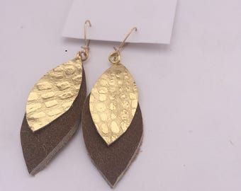 Gold and Brown Leather Earring