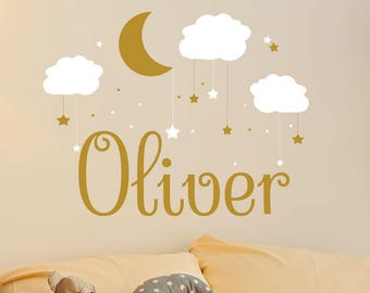 Name Wall Decal Baby Nursery Wall Decal Name Boy Nursery Vinyl Decal Clouds Wall Decor Moon Stickers Decal Star Art Decor S66