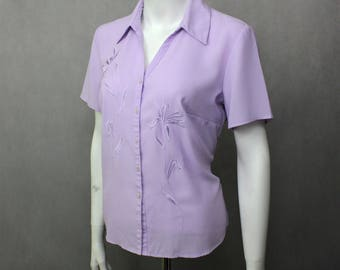 Purple Blouses Violet Shirt - Vintage Light Purple Blouse Size Medium - Work Shirt - Ladies Shirt Women's Blouse - Purple Formal Blouse