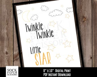 Printable Print Nursery Wall Art, Twinkle Twinkle Little Star, Shower Gift, Baby Gift, Nursery Decor, PDF Digital Download, Sku-RNA101