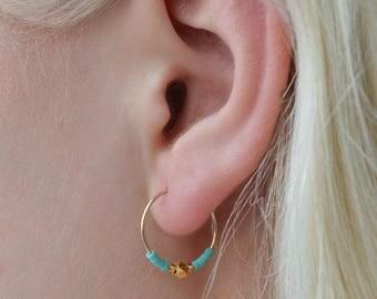 Gold Nugget Hoop, gold hoop earrings, small hoop earring, beaded earrings, delicate jewellery, colourful earrings, dainty jewellery