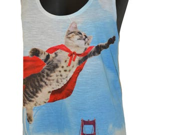 Super Kitty Cat printed Graphic Singlet Tank Top