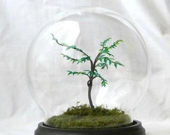 Tree paper under glass globe