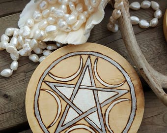 Crescent Moons Wicca Altar Pentacle