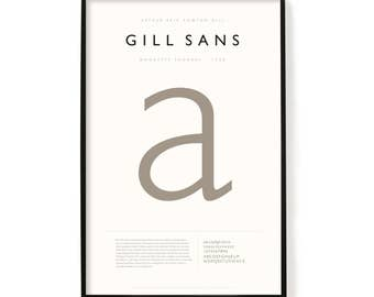 "Gill Sans Poster, Screen Printed, Archival Quality, Wall Art, Poster, Designer Gift, Typography Print, 24"" x 36"""
