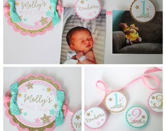 Twinkle Twinkle Little Star Birthday Photo Banner - 12 Month Photo Banner - Twinkle Star Pink, Gold, Turquoise Birthday Party Photo Banner
