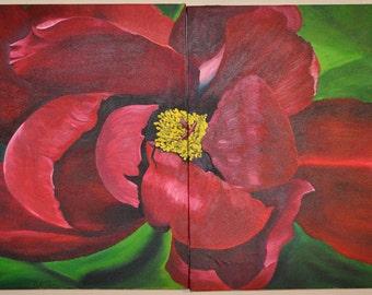 Burgandy Peony Flower Diptic Painting