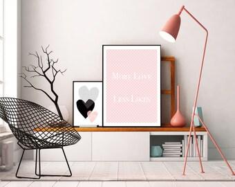 """Framed art print """"More Love Less Likes"""" in black frame DIN A 4"""