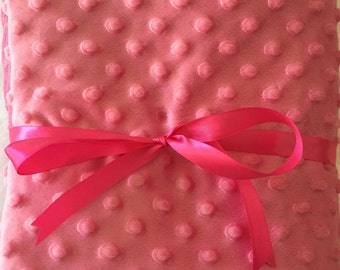 Pink and gray minky blanket