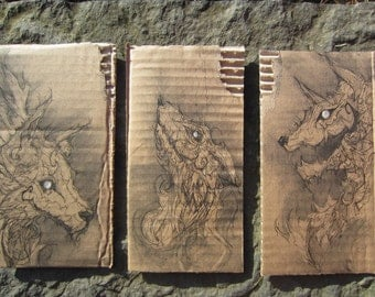 Beasts Within. Beasts Without. (A triptych of original drawings.)