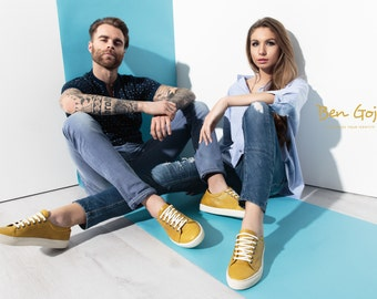 Sneakers Ben Goji - Customize Your Identity - 100% Leather - Mustard Leather