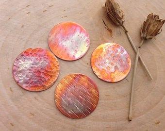 "Textured Copper 1"" discs heat patina - jewelry components"