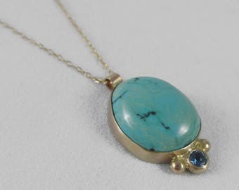 14k Gold Turquoise and London Blue Topaz Pendant Necklace * Natural Turquoise Cabochon and Faceted Blue Topaz * Stunning