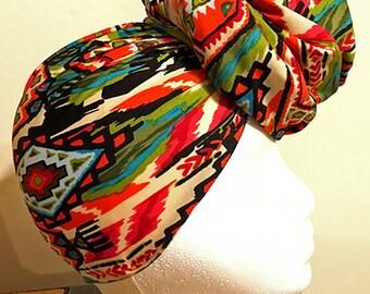 Head Wrap, Hair Wrap, Tribal Print Head Wrap, Colorful head wrap, Bohemian Head Scarf , Print Head Scarf, print Hair Wrap, Hair Scarf, Wrap