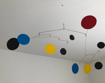 Hand-Painted Alexander Calder Inspired Mid-Century Modern Abstract Kinetic Mobile #4