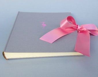 23 x 24.5 cm grey with pink Stork baby album
