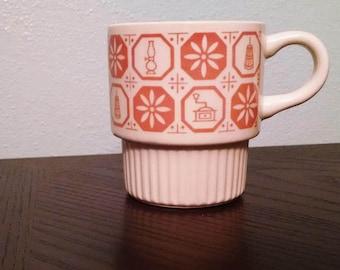 Vintage 1970's coffee mug in cream and Orange