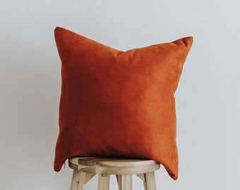 """Rust Suede Throw Pillow Cover 20 inch Square """"Sun Fire"""""""