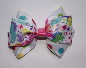 Unicorns, Rainbows, and Dots Double Boutique Hair Bow