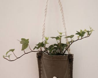 Wall Plant Holder Made From Recycled Jean, Sea Shell and Tin Can
