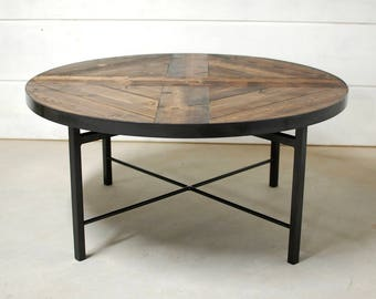 Round Industrial Coffee Table, Farmhouse Table, Wood Coffee Table, Industrial  Table, Reclaimed