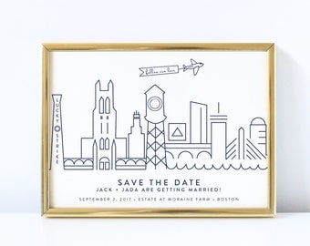 Premade Skyline Save the Date — City Save the Date, Custom City Save the Date, Boston Save the Date, DC Save the Date, Chicago Save the Date