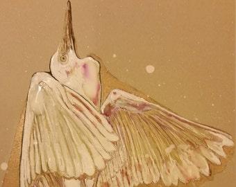 Dancing Egret in Snow Storm