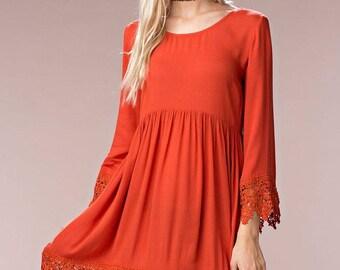 Rust Color Sun Dress Crochet Hem X back