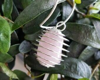Rose Quartz Gemstone Cage Necklace