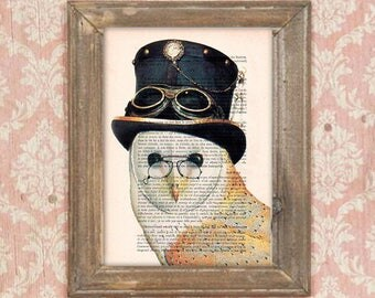 steampunk owl print, clever owl, owl poster, steampunk art, steampunk bird, anniversary print, human animal art