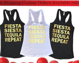 Bachelorette Party Shirts,Fiesta siesta tequila repeat tank top,Bachelorette tank,Bridal Party tank top,Workout Top,Bachelorette Party Tanks