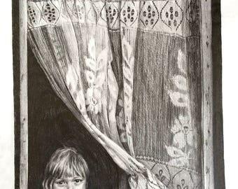 ORIGINAL Pencil Drawing-  Childhood